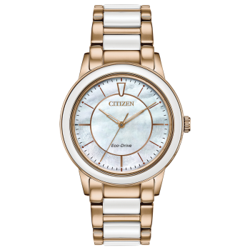 Citizen Chandler Ladies Eco-Drive White Dial Ceramic Watch
