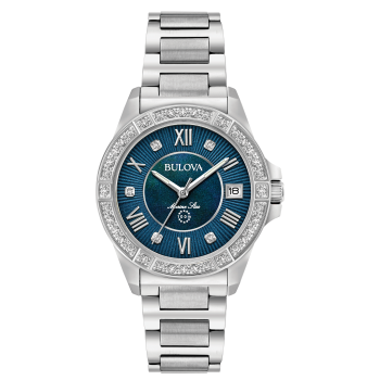Bulova Marine Star Ladies Diamond Blue Dial Stainless Steel Watch