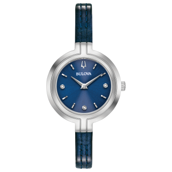 Bulova Rhapsody Ladies Blue Dial Diamond Leather Watch
