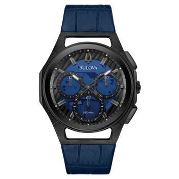 Bulova Curv Men's Blue Leather Strap Chronograph Watch