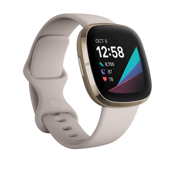 Fitbit Sense Smartwatch - Lunar White/Soft Gold Stainless Steel