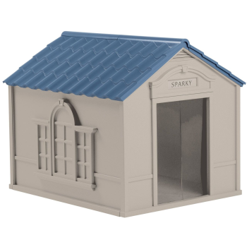 Suncast Deluxe Dog House - Light Taupe/Blue