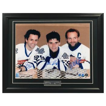 A.J. Sportsworld Doug Gilmour, Wendel Clark and Felix Potvin Signed Toronto Maple Leafs 23x27 Frame