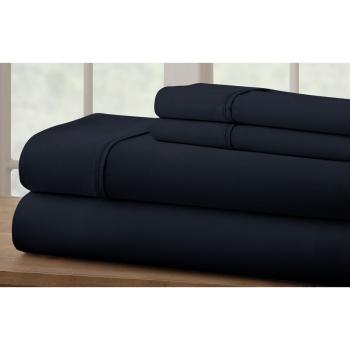 Cuddle Down 100% Percale Deluxe Cotton 220TC 4-Piece Sheet Set - Marine Blue - Queen