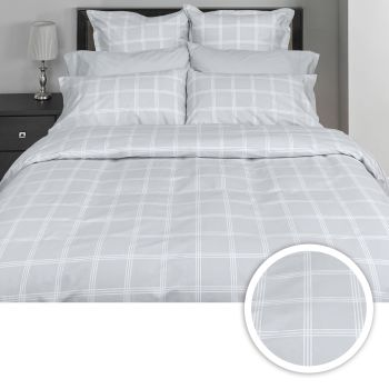 Cuddle Down Cross Roads 3-Piece 220TC Egyptian Cotton Deluxe Sateen Duvet Cover Set - Mineral Grey - Queen