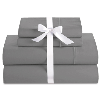 Cuddle Down Deluxe Impressions 500TC Cotton Sateen 4-Piece Sheet Set - Steel - Queen