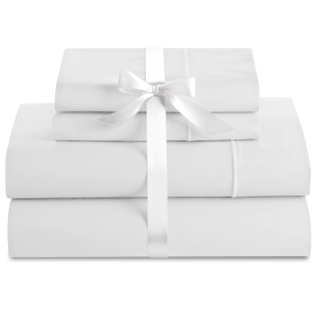 Cuddle Down Deluxe Impressions 500TC Cotton Sateen 4-Piece Sheet Set - White - Queen