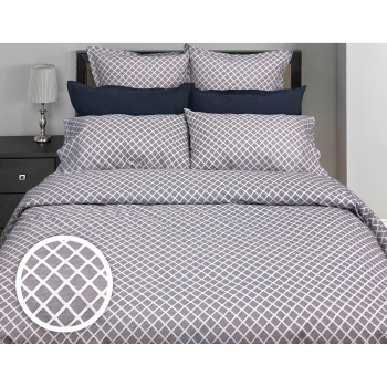 Cuddle Down Georgia Diamond 100% Percale Cotton 200TC 3-Piece Duvet Cover Set - Marine Blue - King