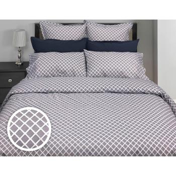 Cuddle Down Georgia Diamond 100% Percale Cotton 200TC 3-Piece Duvet Cover Set - Marine Blue - Queen