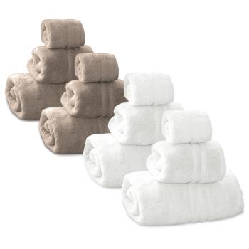 Cuddle Down Portofino 100% Zero Twist Cotton Towel - White and Truffle - Set of 12