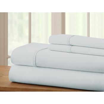 Cuddle Down Portugese 100% Percale Deluxe Cotton 220TC 4-Piece Sheet Set - Glacier - Queen