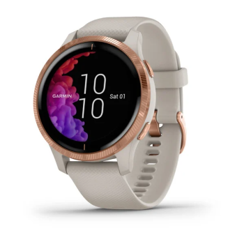 Garmin® Venu® GPS Smartwatch – Rose Gold with Light Sand Band