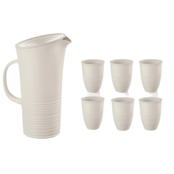 Guzzini Tierra Pitcher with Lid (Milk White) + 6 Tierra Tall Tumblers Set