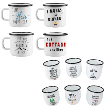 Koppers Home XL Enamel Mugs and Wine Tumbler Set