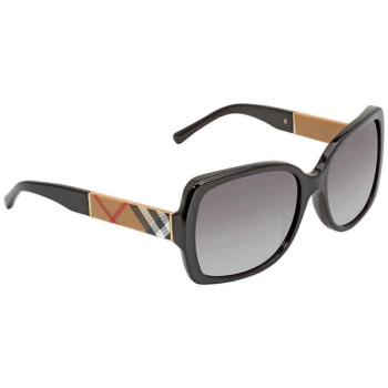 Burberry Blaze & Orchid Square Ladies Sunglasses - Black/Gradient Grey
