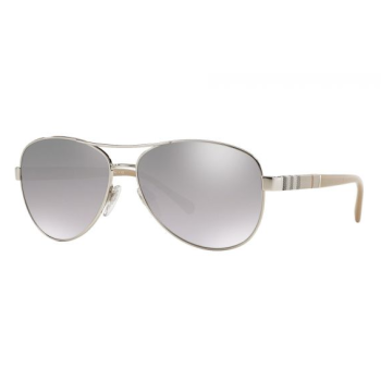 Burberry Pilot Sunglasses - Silver/Gunmetal/Grey Frame with Grey Gradient Mirror