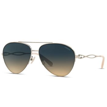 Coach HC7124 Ladies Sunglasses -Shiny Light Gold/Blue Gradient