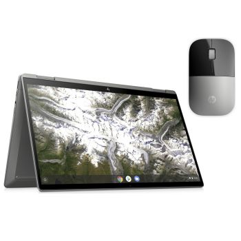 HP 14c-ca0020ca 14'' x360 Convertible Chromebook with HP Z3700 Silver Wireless Mouse