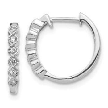 Karing 14k White Gold Diamond Hoop Earrings