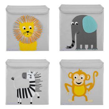 Potwells Children's 4-Pack Storage Box - Animals