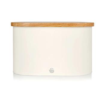 Swan Nordic Oval Bread Bin with Cutting Board Lid - Cotton White