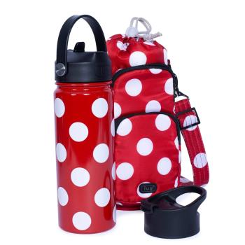 Lug® Huggie & Chuggie Crossbody and Water Bottle Set - 18.5oz – Crimson Large Dot