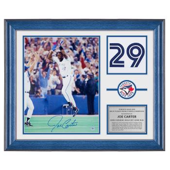 AJ Sports Joe Carter Blue Jays Signed 1993 World Series Home Run 20 x 24 Jersey Number Frame
