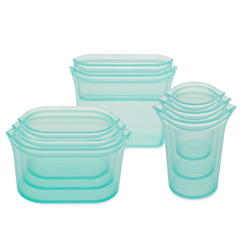 Zip Top® Reusable Silicone Bags and Containers – Set of 8 – Teal