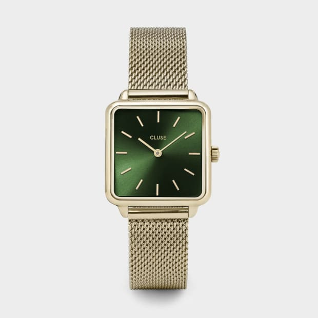 Cluse La Tétragone Minimalist Mesh Women's Watch - Gold/Forest Green #1