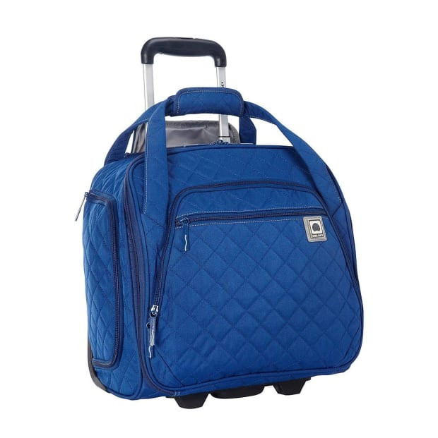 Delsey Quilted Rolling Underseat Tote - Blue #1