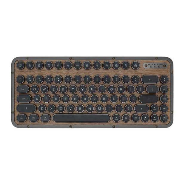 Azio Elwood Retro Compact Keyboard - Walnut Wood/Gunmetal Matte Frame