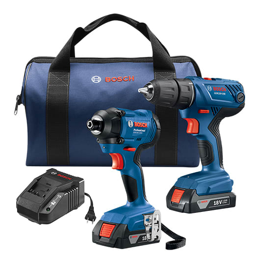 Bosch 18V 2-Tool Combo Kit with 1/2 In. Compact Drill/Driver and 1/4 In. Hex Impact Driver