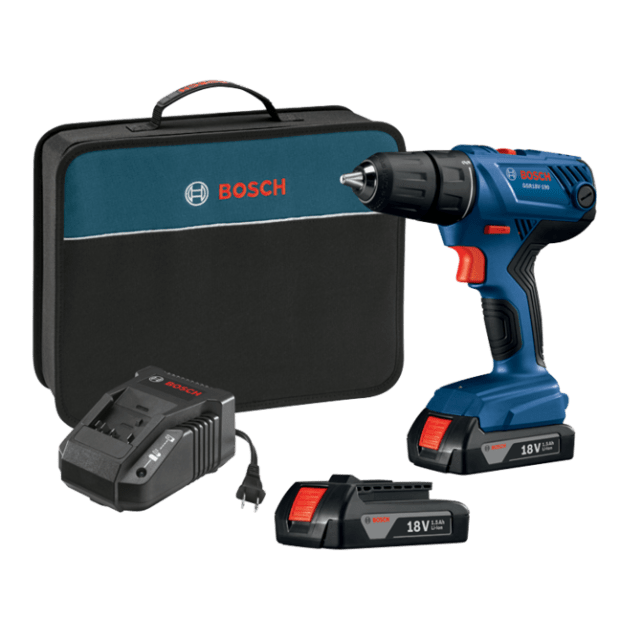 Bosch 18V Compact 1/2'' Drill/Driver Kit with 2x 1.5 Ah SlimPack Batteries