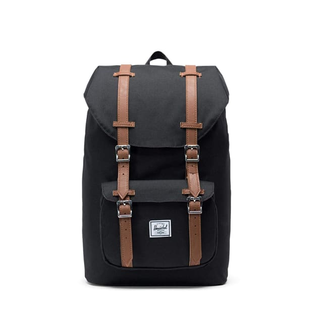 Herschel Little America Backpack - Black/Tan Synthetic Leather #1