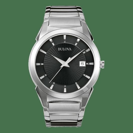Bulova Men's Stainless Steel Black Dial Water Resistant Classic Watch