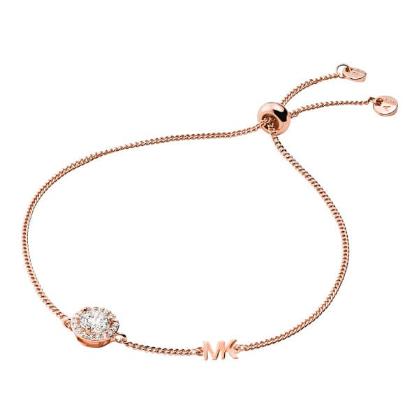 Michael Kors Precious Metal-Plated Sterling Silver Pavé Halo Slider Bracelet - Rose Gold
