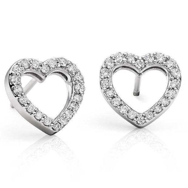 Karing Diamond Heart Stud Earrings