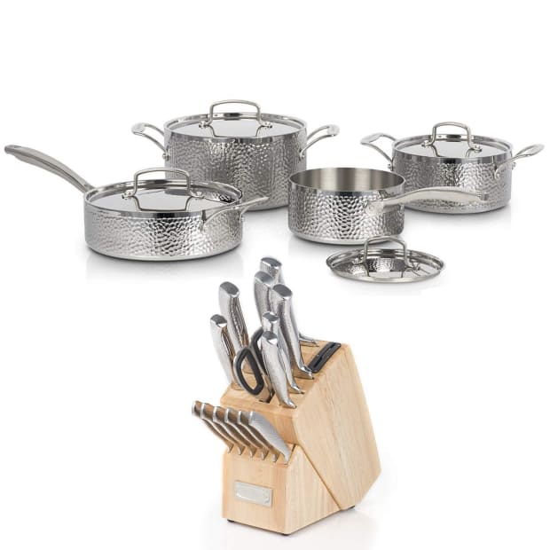 Cuisinart® 8-Piece Vintage Hand Hammered Tri-Ply Cookware Set with 15-Piece Knife Block Set Bundle