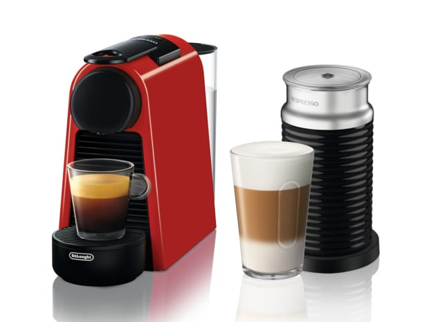 Nespresso Essenza Mini Espresso Machine with Aeroccino - Red