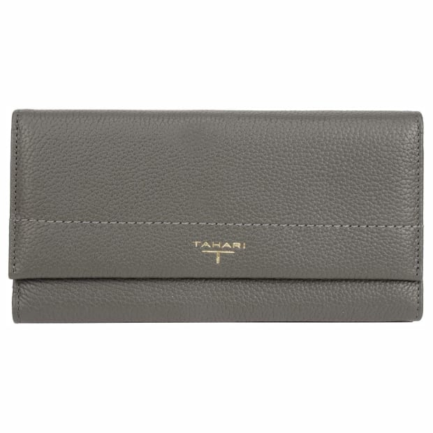 Tahari Sienna Expanding Leather Wallet - Grey #1