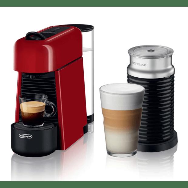 Nespresso Essenza Plus Machine with Aeroccino by De'Longhi - Shiny Red