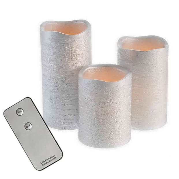Finish Moving Flameless LED Pillar Candle Set of 3 with Remote - Silver