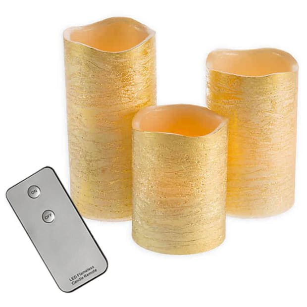 Finish Moving Flameless LED Pillar Candle Set of 3 with Remote - Gold