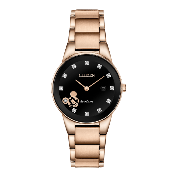Citizen Mickey Mouse Ladies Eco-Drive Rose Gold Black Dial Watch #1
