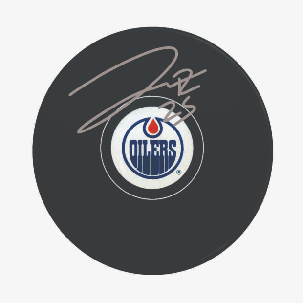 Frameworth Darnell Nurse Signed Puck Oilers Logo