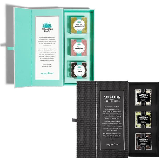 "Sugarfina® Candy Bento Box Set - Casamigos ""You Had Me At Tequila"" 3-Piece Candy Bento Box and Aviation Gin 3-Piece Candy Bento Box #1"