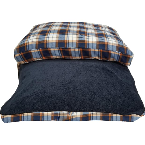 Danazoo Rachel Sherpa Top Rectangle Pet Bed - Blue Plaid #1