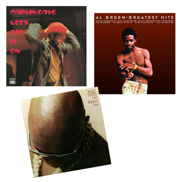 Soulful Love Vinyl Records Bundle - Let's Get It On, Al Green Greatest Hits  & Hot Buttered Soul #1