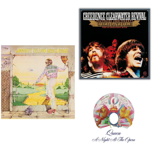 The Rock Classics Vinyl Collection - A Night Of The Opera, Goodbye Yellow Brick Road and Chronicle: Greatest Hits #1