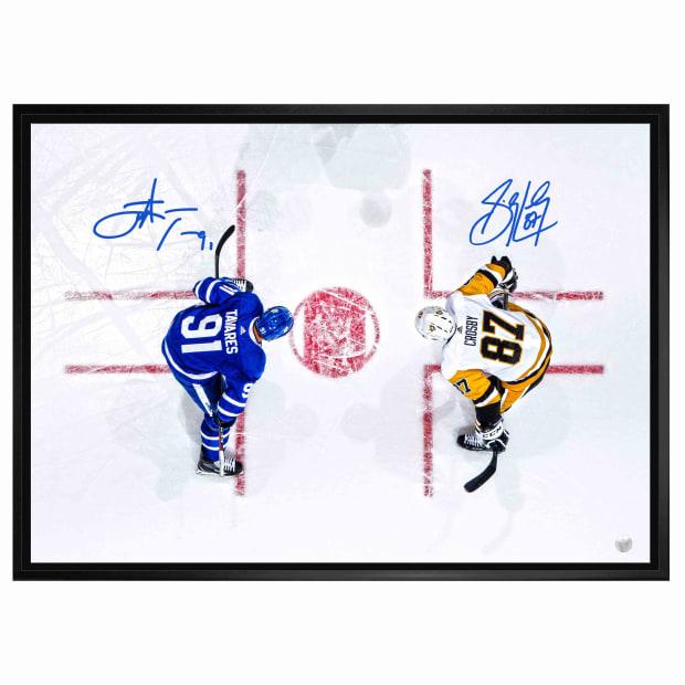 Frameworth Sidney Crosby/John Tavares Dual Signed 20 x 29 Canvas Framed Overhead - Leafs vs. Penguins #1